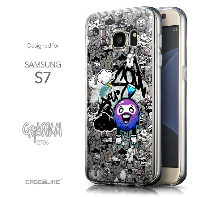 Front & Side View - CASEiLIKE Samsung Galaxy S7 back cover Graffiti 2706