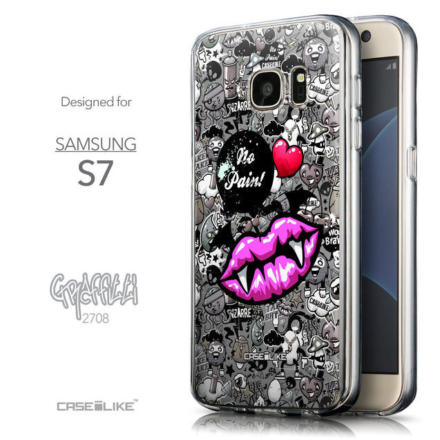Front & Side View - CASEiLIKE Samsung Galaxy S7 back cover Graffiti 2708