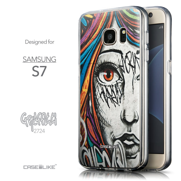 Front & Side View - CASEiLIKE Samsung Galaxy S7 back cover Graffiti Girl 2724