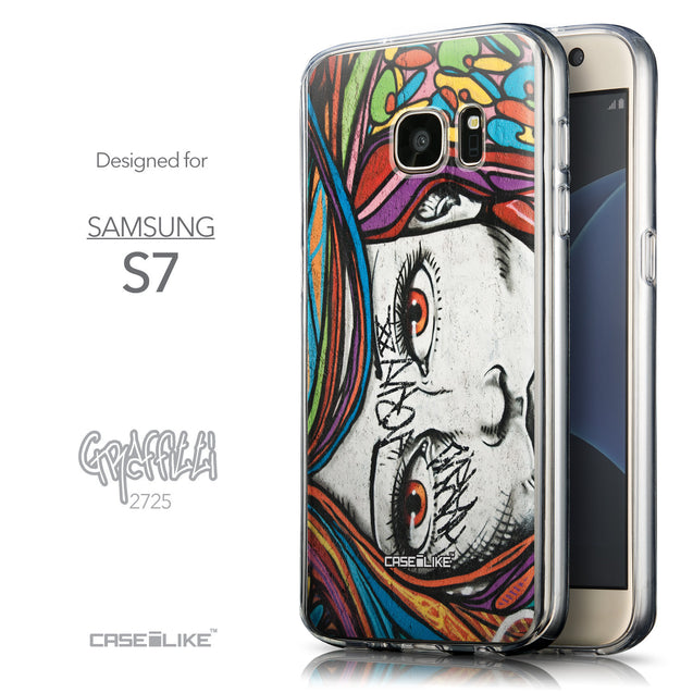 Front & Side View - CASEiLIKE Samsung Galaxy S7 back cover Graffiti Girl 2725