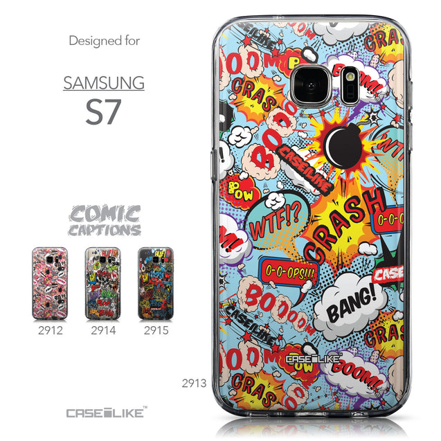 Collection - CASEiLIKE Samsung Galaxy S7 back cover Comic Captions Blue 2913