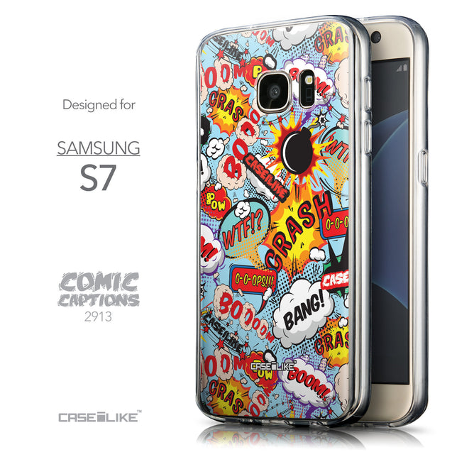 Front & Side View - CASEiLIKE Samsung Galaxy S7 back cover Comic Captions Blue 2913