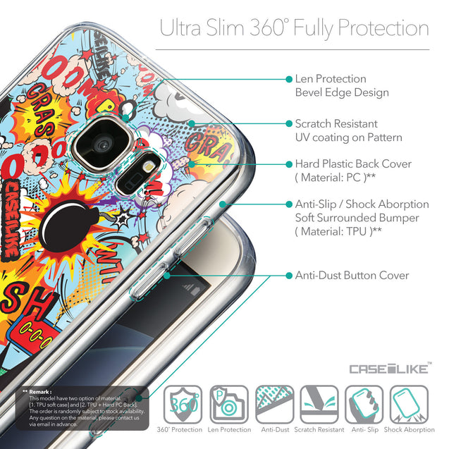 Details in English - CASEiLIKE Samsung Galaxy S7 back cover Comic Captions Blue 2913