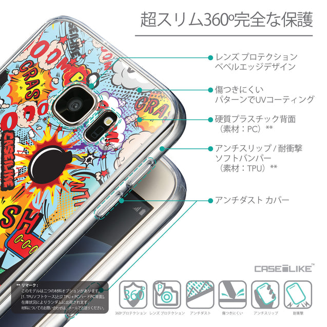 Details in Japanese - CASEiLIKE Samsung Galaxy S7 back cover Comic Captions Blue 2913
