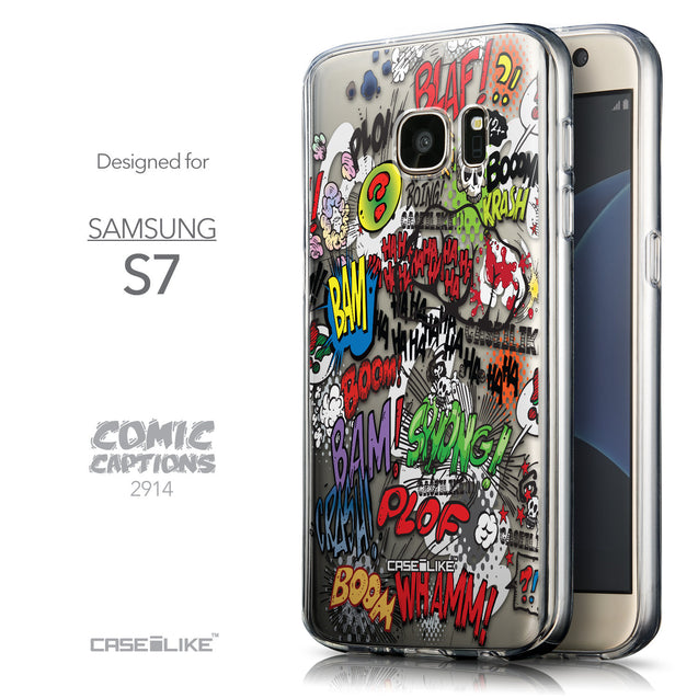 Front & Side View - CASEiLIKE Samsung Galaxy S7 back cover Comic Captions 2914