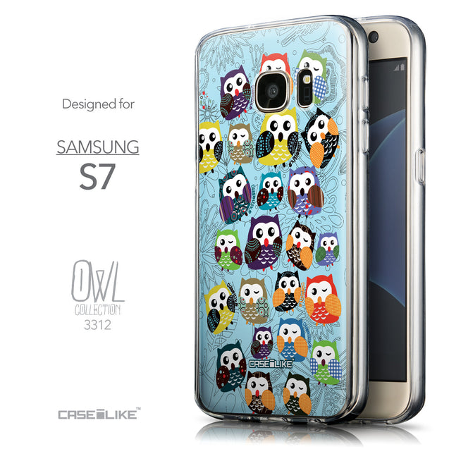 Front & Side View - CASEiLIKE Samsung Galaxy S7 back cover Owl Graphic Design 3312