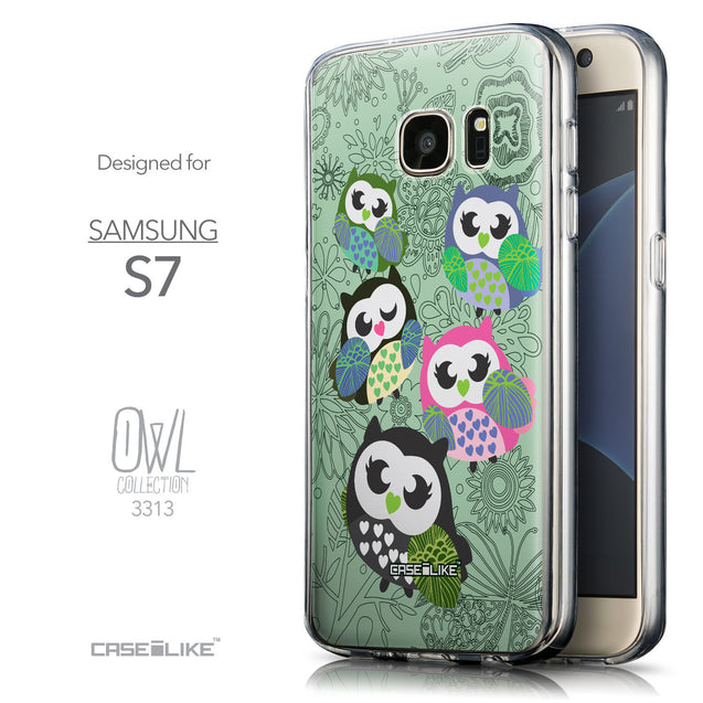 Front & Side View - CASEiLIKE Samsung Galaxy S7 back cover Owl Graphic Design 3313