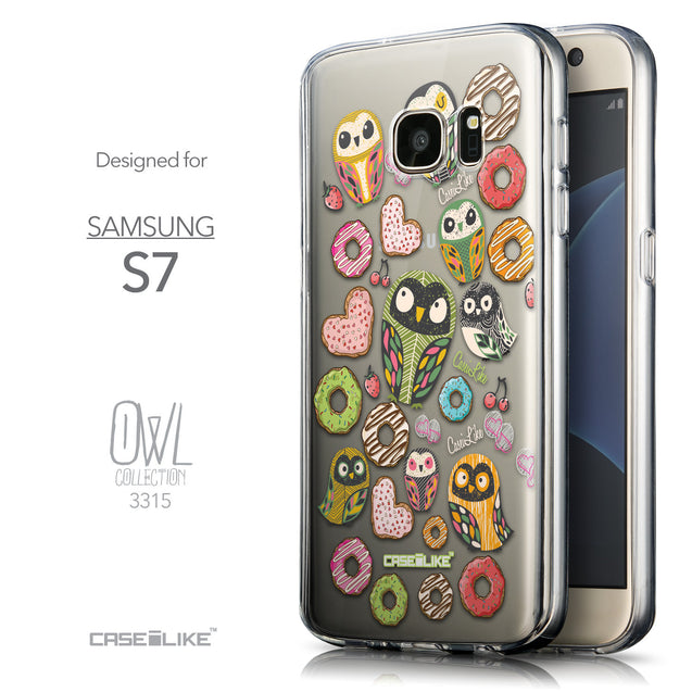 Front & Side View - CASEiLIKE Samsung Galaxy S7 back cover Owl Graphic Design 3315