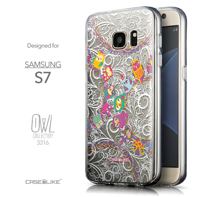 Front & Side View - CASEiLIKE Samsung Galaxy S7 back cover Owl Graphic Design 3316