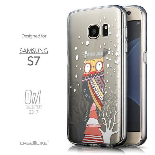 Front & Side View - CASEiLIKE Samsung Galaxy S7 back cover Owl Graphic Design 3317