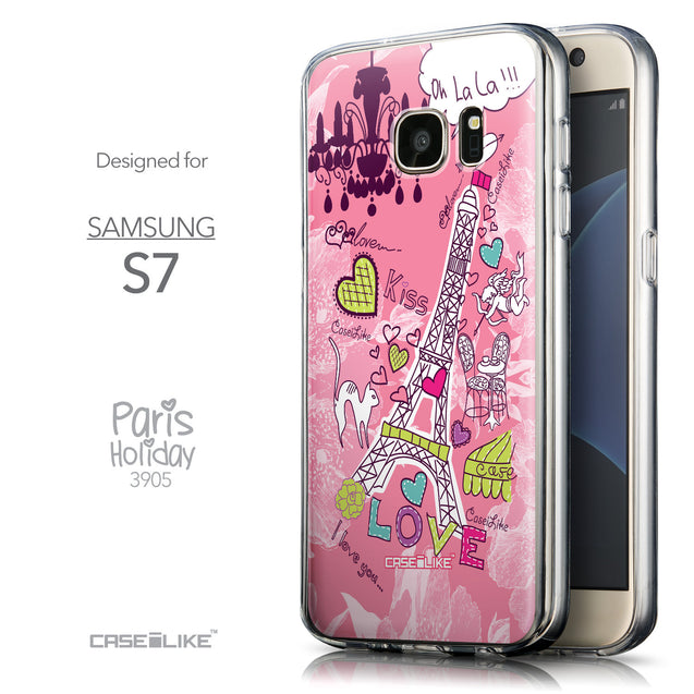 Front & Side View - CASEiLIKE Samsung Galaxy S7 back cover Paris Holiday 3905