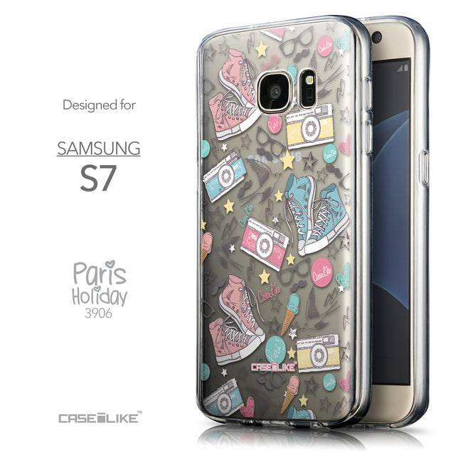 Front & Side View - CASEiLIKE Samsung Galaxy S7 back cover Paris Holiday 3906