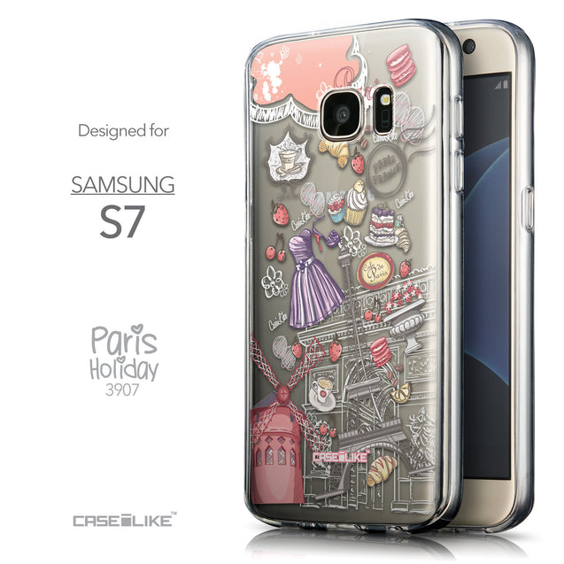 Front & Side View - CASEiLIKE Samsung Galaxy S7 back cover Paris Holiday 3907