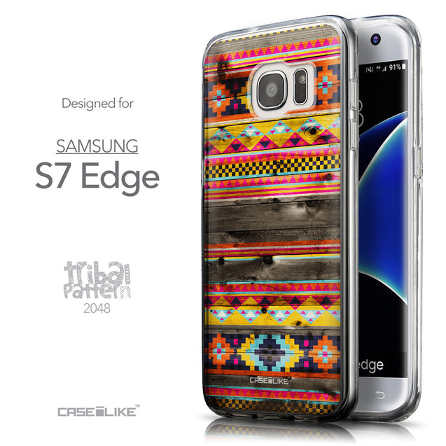 Front & Side View - CASEiLIKE Samsung Galaxy S7 Edge back cover Indian Tribal Theme Pattern 2048