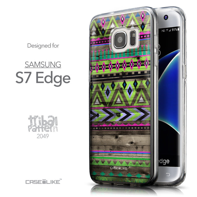 Front & Side View - CASEiLIKE Samsung Galaxy S7 Edge back cover Indian Tribal Theme Pattern 2049