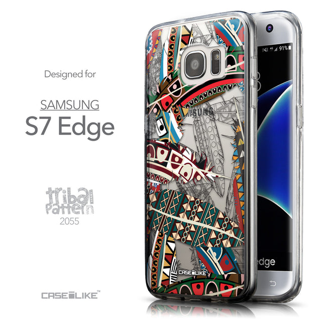 Front & Side View - CASEiLIKE Samsung Galaxy S7 Edge back cover Indian Tribal Theme Pattern 2055