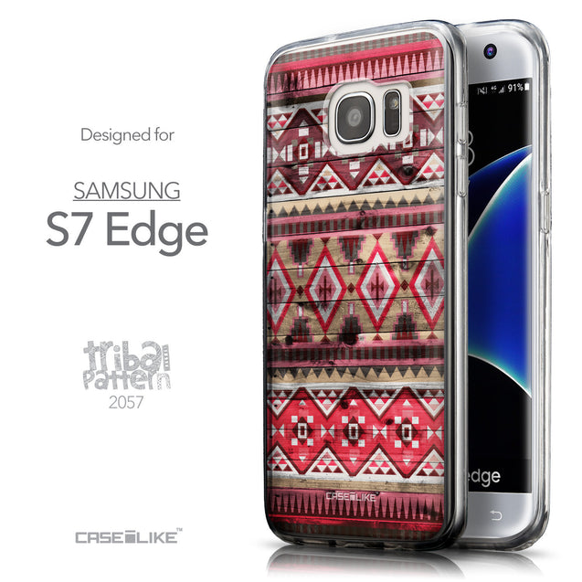 Front & Side View - CASEiLIKE Samsung Galaxy S7 Edge back cover Indian Tribal Theme Pattern 2057