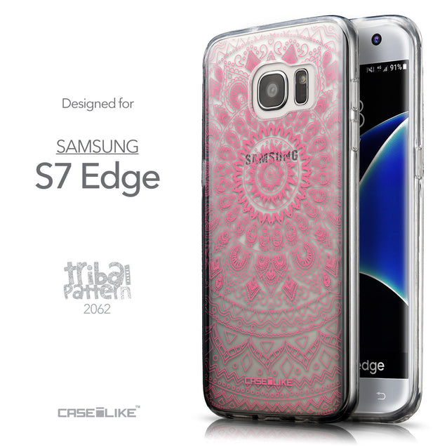 Front & Side View - CASEiLIKE Samsung Galaxy S7 Edge back cover Indian Line Art 2062
