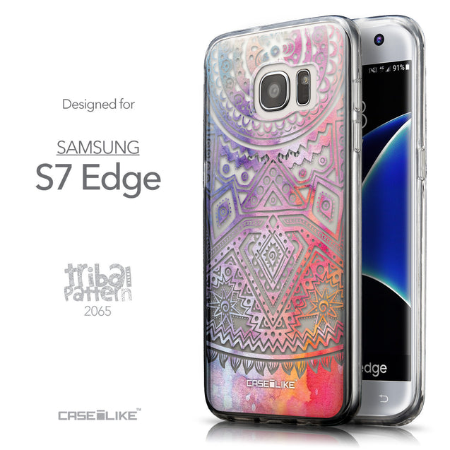 Front & Side View - CASEiLIKE Samsung Galaxy S7 Edge back cover Indian Line Art 2065