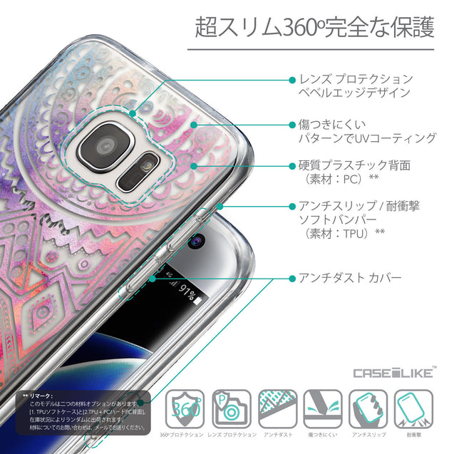 Details in Japanese - CASEiLIKE Samsung Galaxy S7 Edge back cover Indian Line Art 2065