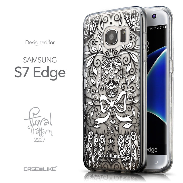 Front & Side View - CASEiLIKE Samsung Galaxy S7 Edge back cover Roses Ornamental Skulls Peacocks 2227