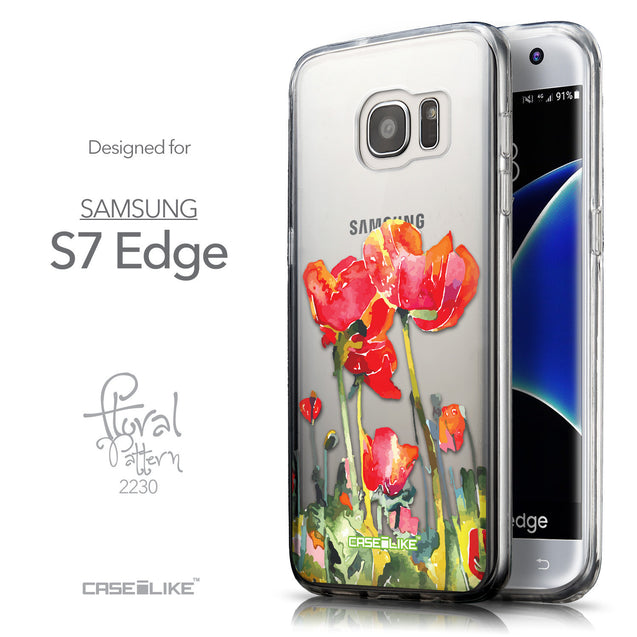 Front & Side View - CASEiLIKE Samsung Galaxy S7 Edge back cover Watercolor Floral 2230
