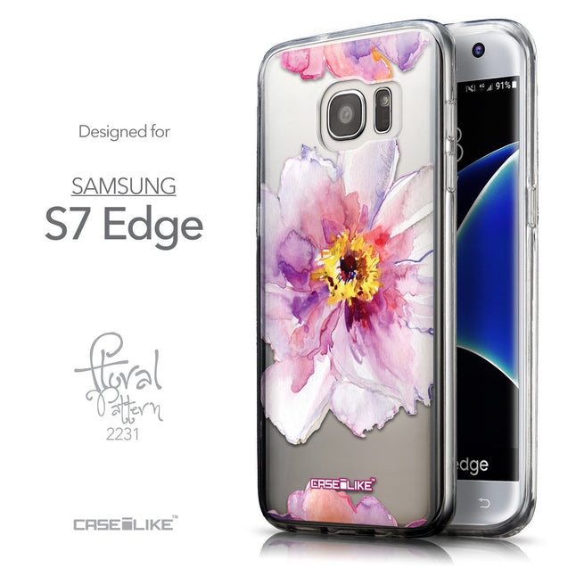 Front & Side View - CASEiLIKE Samsung Galaxy S7 Edge back cover Watercolor Floral 2231