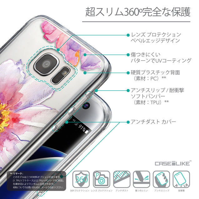 Details in Japanese - CASEiLIKE Samsung Galaxy S7 Edge back cover Watercolor Floral 2231