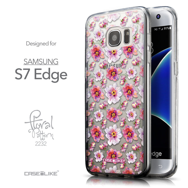 Front & Side View - CASEiLIKE Samsung Galaxy S7 Edge back cover Watercolor Floral 2232