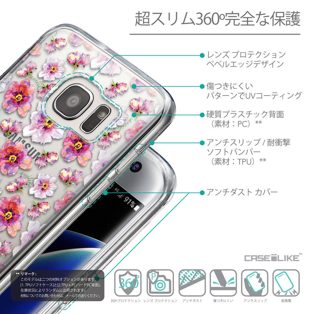 Details in Japanese - CASEiLIKE Samsung Galaxy S7 Edge back cover Watercolor Floral 2232