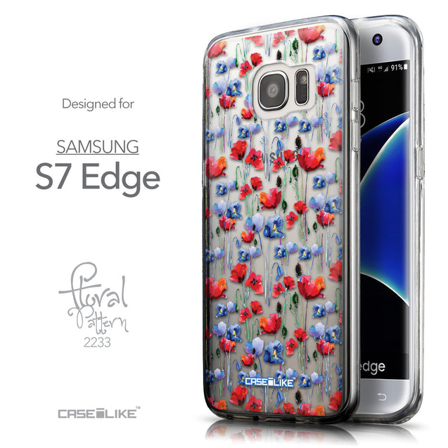 Front & Side View - CASEiLIKE Samsung Galaxy S7 Edge back cover Watercolor Floral 2233