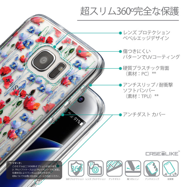Details in Japanese - CASEiLIKE Samsung Galaxy S7 Edge back cover Watercolor Floral 2233