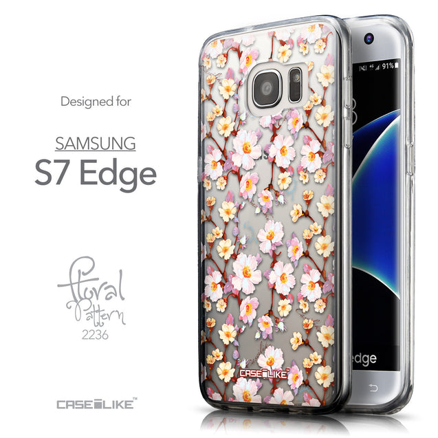 Front & Side View - CASEiLIKE Samsung Galaxy S7 Edge back cover Watercolor Floral 2236