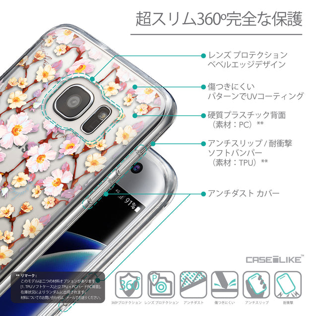 Details in Japanese - CASEiLIKE Samsung Galaxy S7 Edge back cover Watercolor Floral 2236