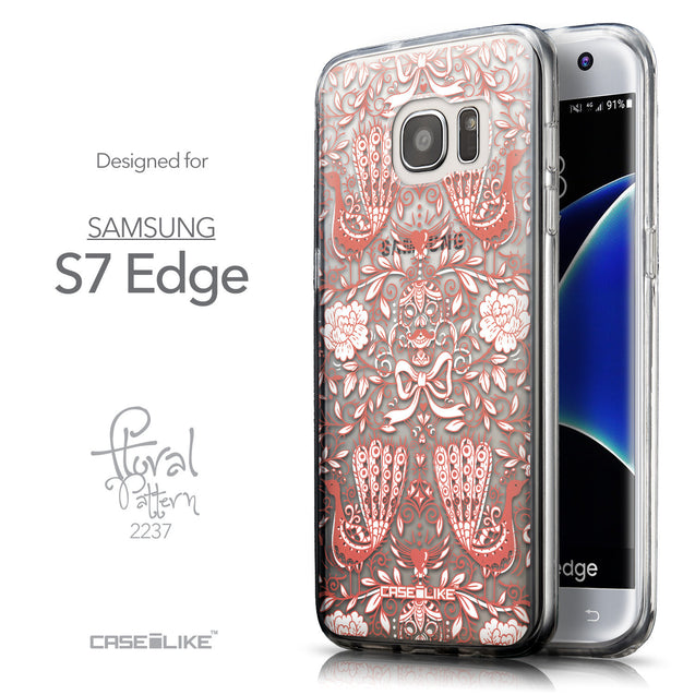 Front & Side View - CASEiLIKE Samsung Galaxy S7 Edge back cover Roses Ornamental Skulls Peacocks 2237