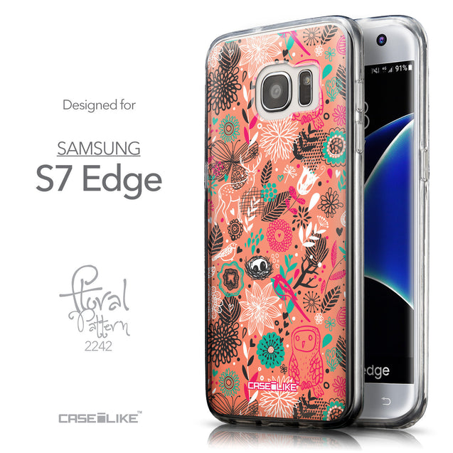 Front & Side View - CASEiLIKE Samsung Galaxy S7 Edge back cover Spring Forest Pink 2242