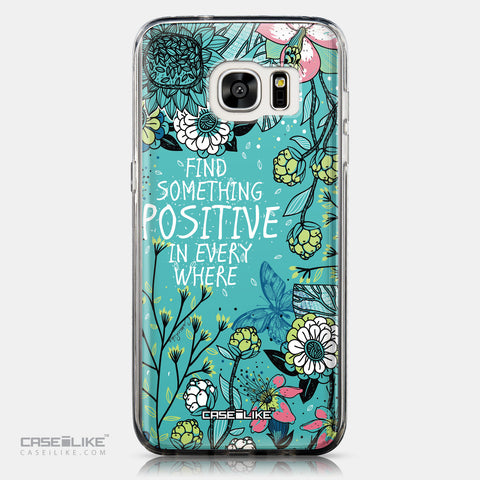 CASEiLIKE Samsung Galaxy S7 Edge back cover Blooming Flowers Turquoise 2249