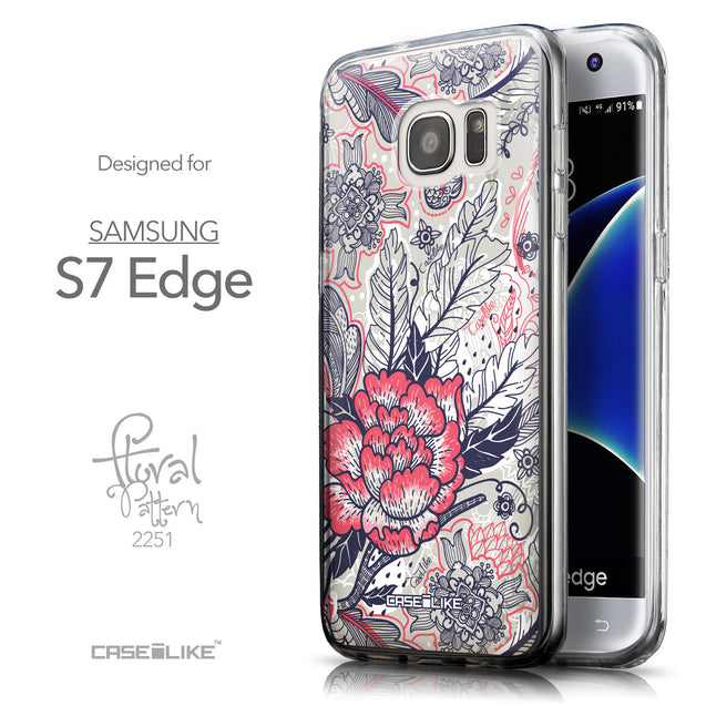 Front & Side View - CASEiLIKE Samsung Galaxy S7 Edge back cover Vintage Roses and Feathers Beige 2251