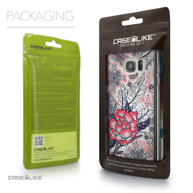 Packaging - CASEiLIKE Samsung Galaxy S7 Edge back cover Vintage Roses and Feathers Beige 2251