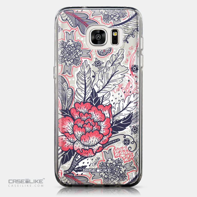 CASEiLIKE Samsung Galaxy S7 Edge back cover Vintage Roses and Feathers Beige 2251