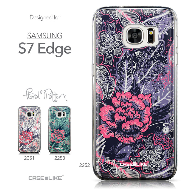 Collection - CASEiLIKE Samsung Galaxy S7 Edge back cover Vintage Roses and Feathers Blue 2252