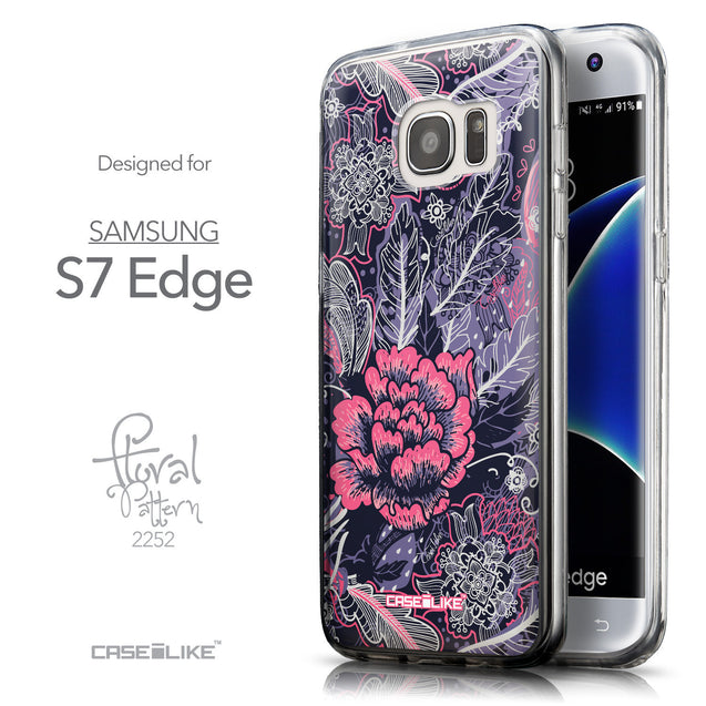 Front & Side View - CASEiLIKE Samsung Galaxy S7 Edge back cover Vintage Roses and Feathers Blue 2252
