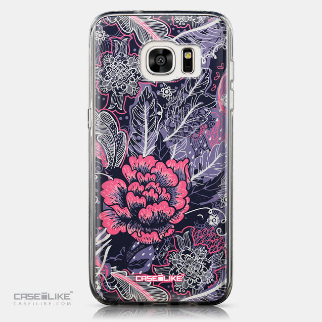 CASEiLIKE Samsung Galaxy S7 Edge back cover Vintage Roses and Feathers Blue 2252