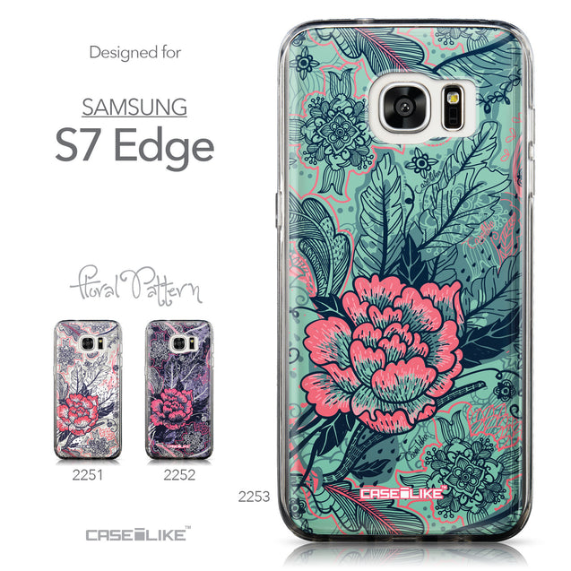 Collection - CASEiLIKE Samsung Galaxy S7 Edge back cover Vintage Roses and Feathers Turquoise 2253