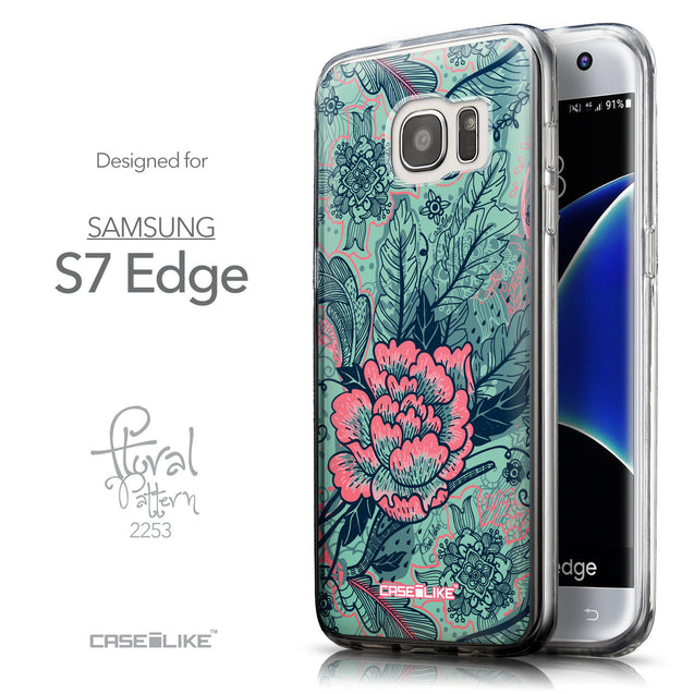Front & Side View - CASEiLIKE Samsung Galaxy S7 Edge back cover Vintage Roses and Feathers Turquoise 2253