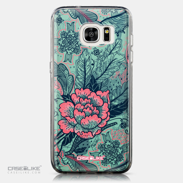 CASEiLIKE Samsung Galaxy S7 Edge back cover Vintage Roses and Feathers Turquoise 2253
