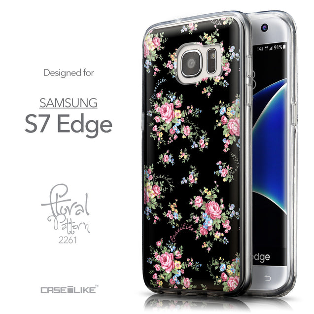 Front & Side View - CASEiLIKE Samsung Galaxy S7 Edge back cover Floral Rose Classic 2261