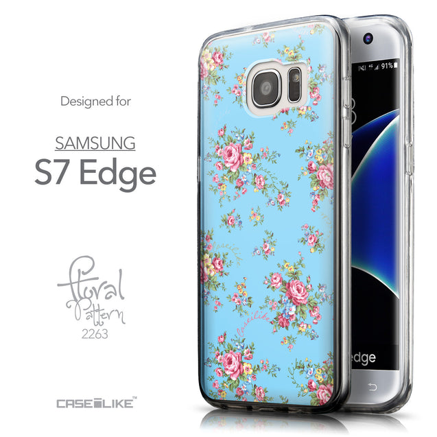 Front & Side View - CASEiLIKE Samsung Galaxy S7 Edge back cover Floral Rose Classic 2263