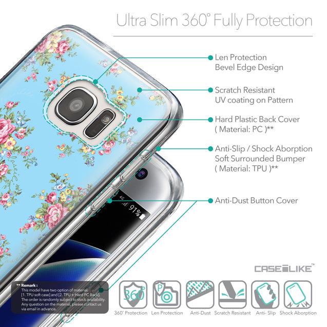 Details in English - CASEiLIKE Samsung Galaxy S7 Edge back cover Floral Rose Classic 2263