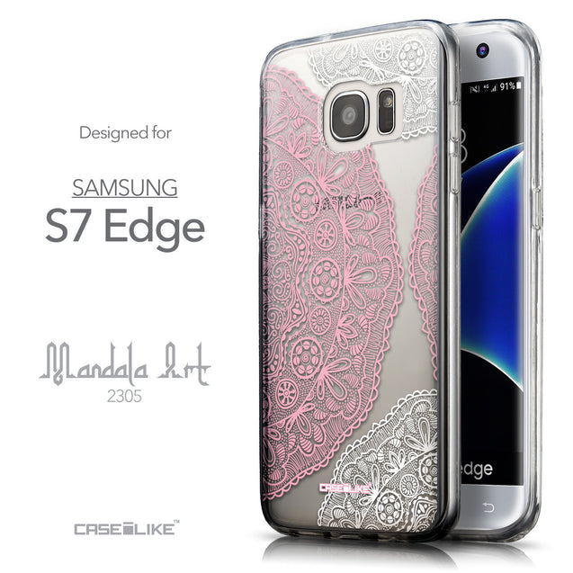 Front & Side View - CASEiLIKE Samsung Galaxy S7 Edge back cover Mandala Art 2305